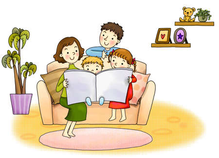 3 4 length: Mother with three children reading a book at home