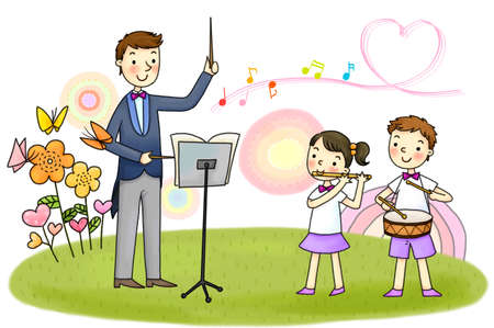 teaching music: Father teaching music to his children LANG_EVOIMAGES