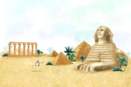 cheops: Man sitting on camel at The Sphinx and Pyramid of Cheops, Temple of Luxor Hypostyle Hall LANG_EVOIMAGES
