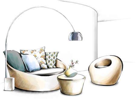 lamp shade: Designer lamp shade in living room