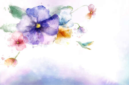 flower bunch: Painting of bird flying towards flower bunch LANG_EVOIMAGES