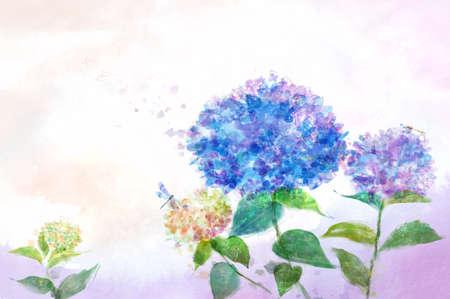 blue dandelion: Painting of dragonfly flying over blue dandelion LANG_EVOIMAGES