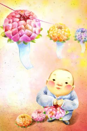 flower bunch: A little boy (2-3) holding flower bunch