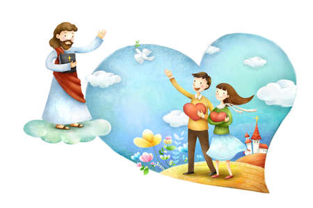 jesus standing: Man and woman holding heart shape with waving hands towards Jesus Christ LANG_EVOIMAGES