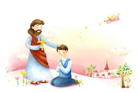 jesus standing: Man praying in front of Jesus Christ LANG_EVOIMAGES