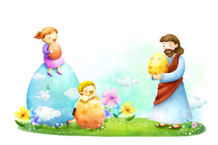 jesus standing: Lord Jesus Christ playing with children