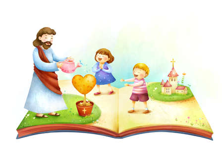 jesus standing: Lord Jesus Christ watering plant with children standing with him