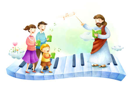 jesus standing: Parents with son and Jesus Christ singing song
