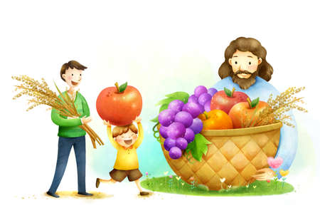 basketful: Lord Jesus Christ holding basketful of fruit with father and son collecting more fruits