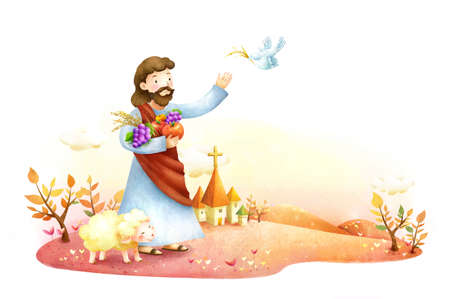 jesus standing: Lord Jesus Christ feeding bird with sheep standing besides him LANG_EVOIMAGES