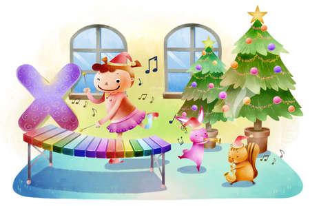 xilofono: Muchacha que toca el xil�fono durante la Navidad LANG_EVOIMAGES