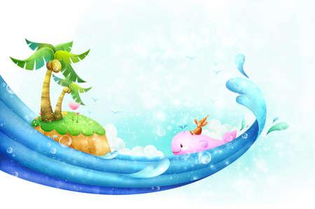 person sitzend: Person sitzt auf Wale schwimmen in der N�he von kleinen Insel