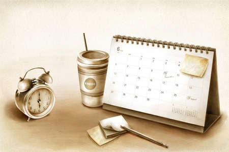 absence: Calendar by alarm clock and coffee mug