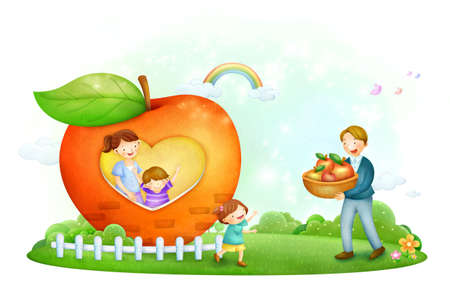basketful: Father holding a basketful of apple with mother and son watching him from home window LANG_EVOIMAGES