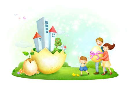crecimiento planta: Los padres que sostienen el huevo con la construcci�n y crecimiento de las plantas de huevo roto LANG_EVOIMAGES