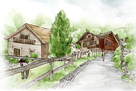 built: Houses built on hill LANG_EVOIMAGES