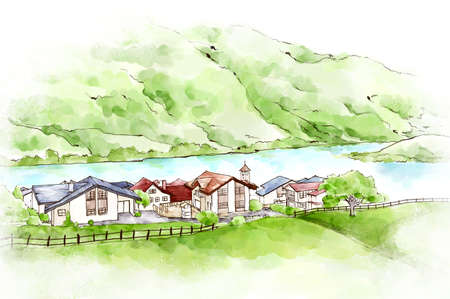built: Elevated view of houses built at the edge of river LANG_EVOIMAGES