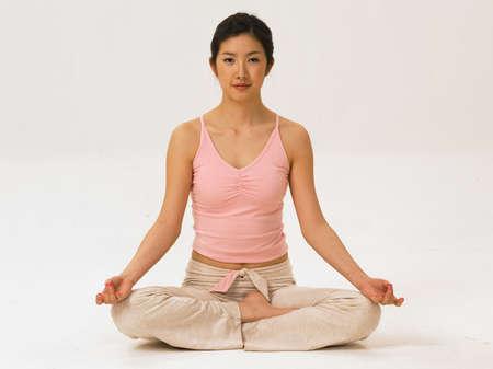fair skin: Young woman doing yoga, portrait