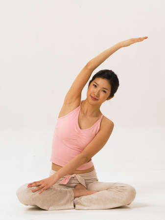 fair skin: Young woman doing yoga, portrait