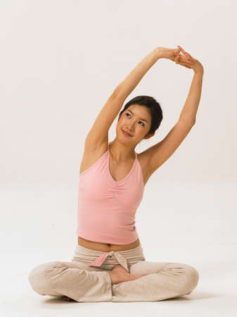 fair skin: Young woman doing yoga