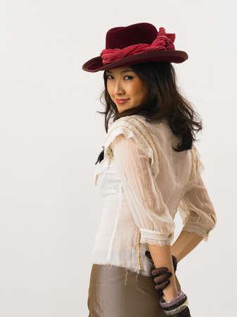 woman wearing hat: Young woman wearing hat, portrait