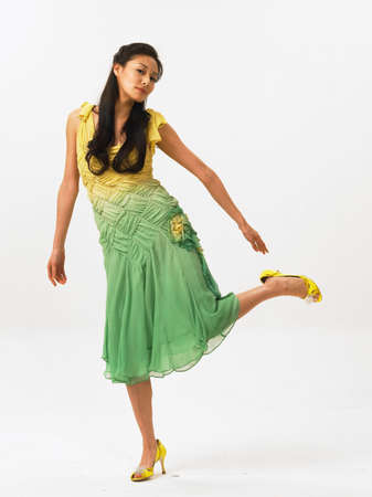 womanhood: Young woman wearing yellow heels, portrait LANG_EVOIMAGES