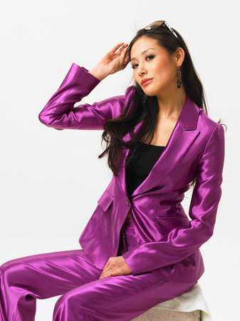 portraiture: Young woman wearing purple suit, portrait