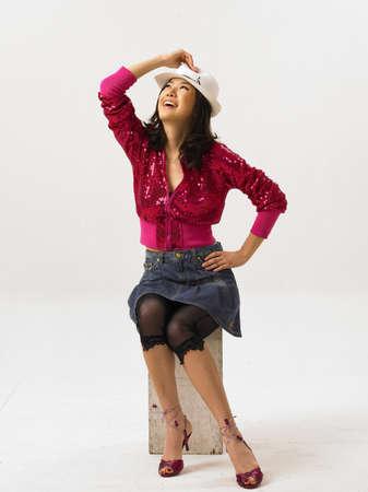 fair skin: Young woman wearing hat, smiling