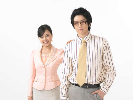 cheerfulness: Portrait businessman and woman smiling