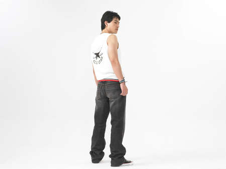 man rear view: Young man, rear view