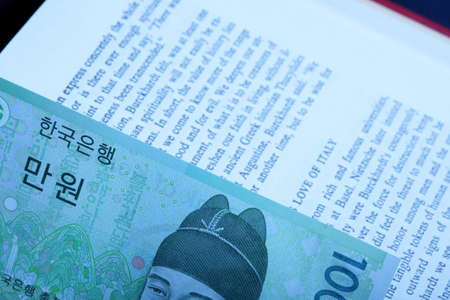 affluence: Korean currency on book