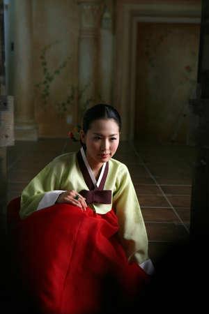 fair skin: Korean woman in traditional dress