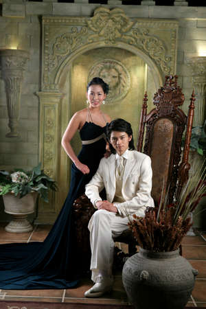 evening wear: Young man and woman in evening wear LANG_EVOIMAGES