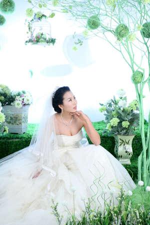 fair skin: Young woman in wedding dress