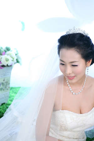 fair complexion: Young woman in wedding dress