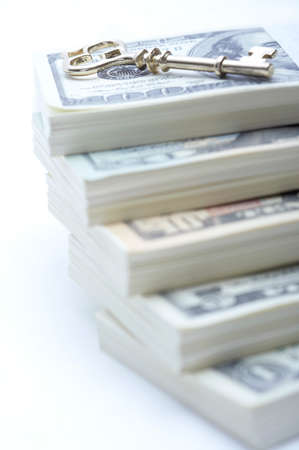 us paper currency: US paper currency note bundles with key