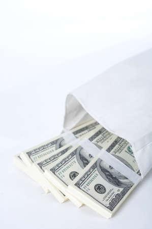 us paper currency: US paper currency note bundles in envelope