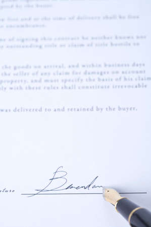 handwrite: Fountain pen signing contract