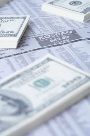 us paper currency: Financial paper with bundles of US paper currency LANG_EVOIMAGES