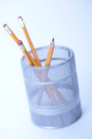 implementing: Pencils in jar, close up
