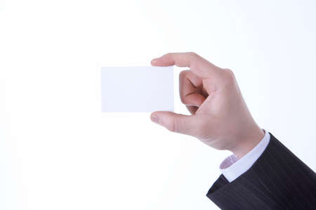 cropped shots: Businessman holding visiting card, close up