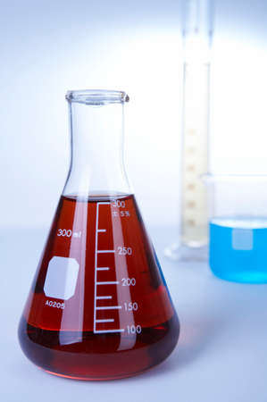 reagents: Red liquid in conical flask