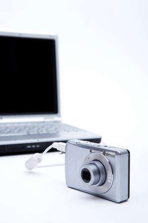 modernization: Digital camera attached to laptop, close up LANG_EVOIMAGES