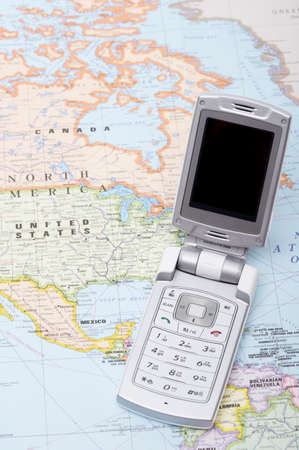 personal digital assistant: Mobile phone on a world map
