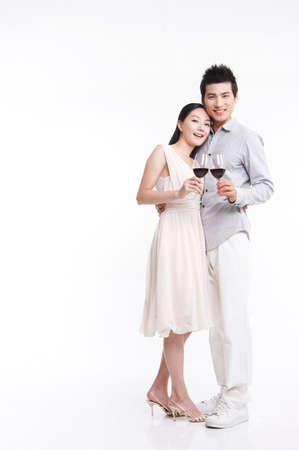 young man: Young man and woman with wineglass, portrait LANG_EVOIMAGES