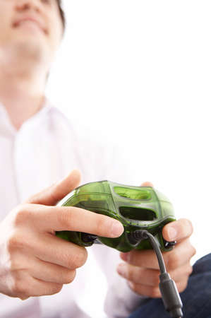leisureliness: Man using video game controller