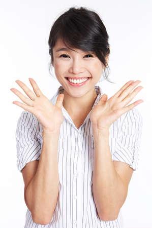 fair skin: Young woman gesturing, portrait