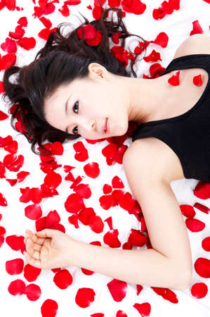 leisureliness: Young woman lying