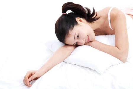 woman lying down: Young woman lying down