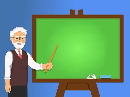 Senior professor explained something on the chalkboard. University teacher in flat cartoon style.